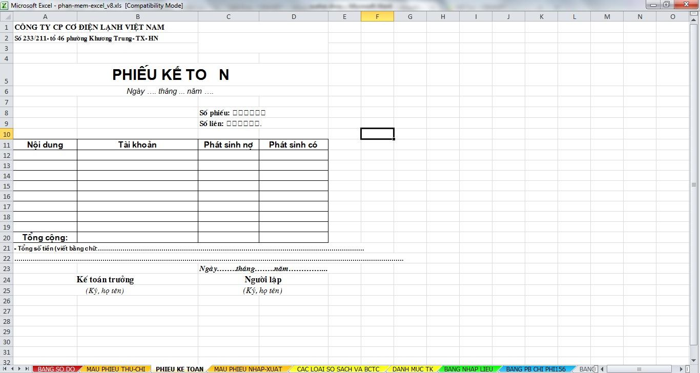 Phần mềm quản lý kế toán bằng Excel miễn phí V8