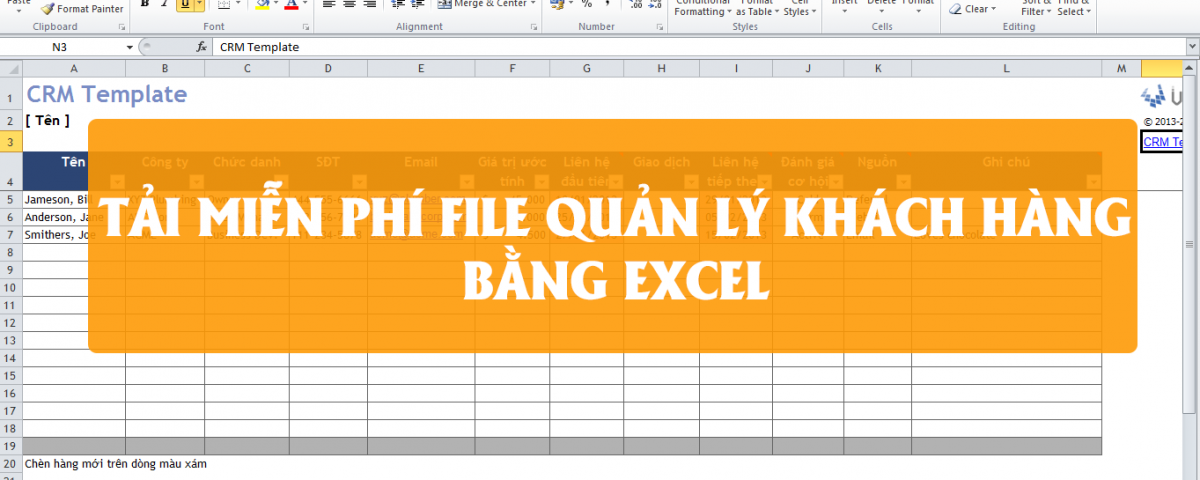 File Excel quản lý khách hàng miễn phí