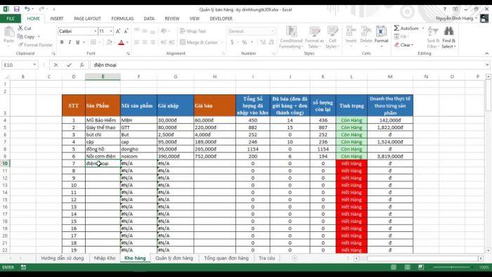 File excel quản lý khách hàng