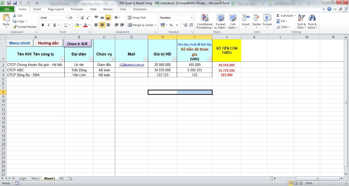 quản lý khách hàng bằng Excel