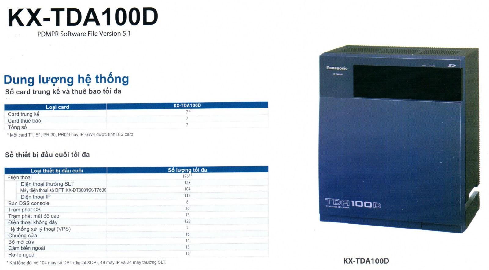 Tổng đài điện thoại Panasonic KX-TDA100D