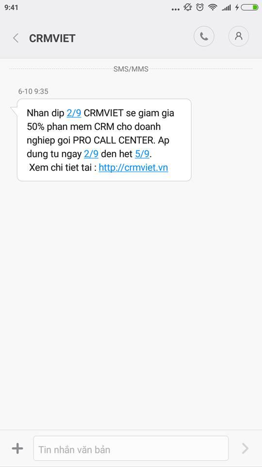 mẫu tin nhắn sms marketing khuyến mại