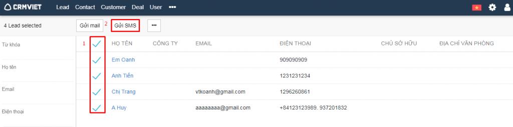 Gửi sms marketing cho 1 list danh sách khách hàng