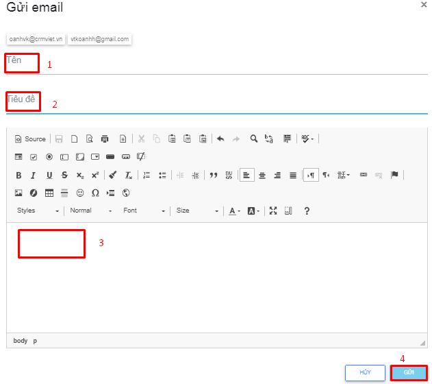 Nhập thông tin nội dung email