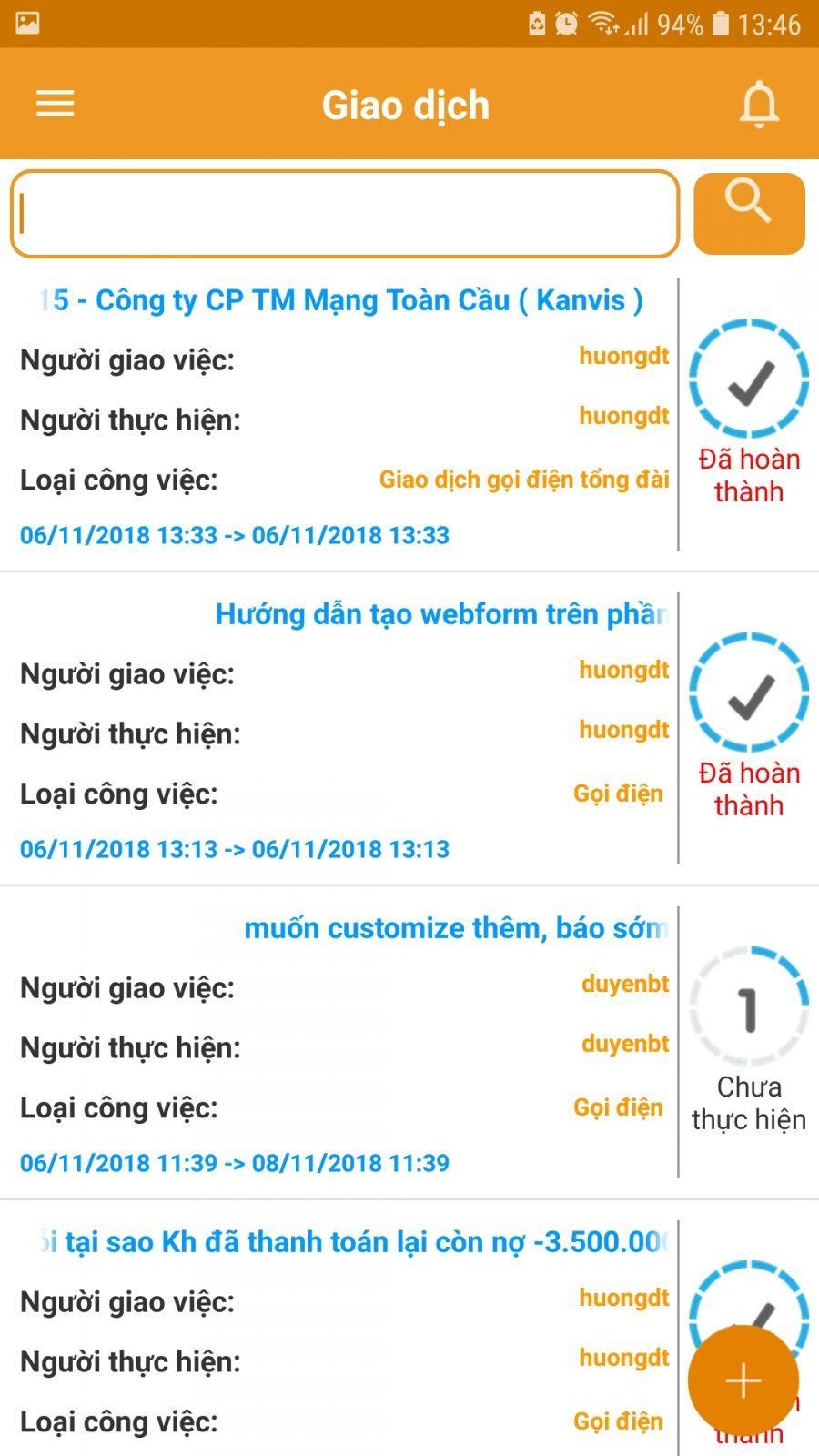 Tính năng Giao dịch trên app CrmViet