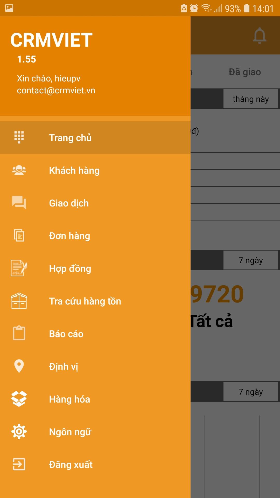 Giao diện tính năng mobile app crmviet