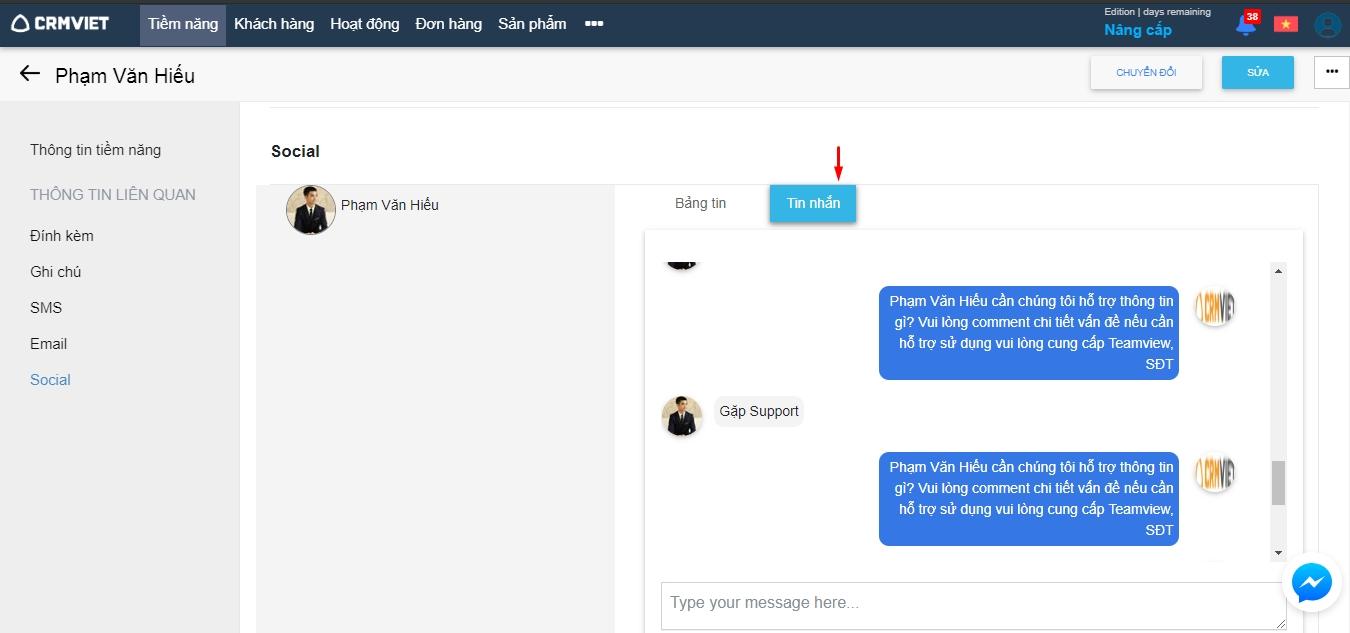 Tích hợp Facebook - Quản lý tin nhắn khách hàng tiềm năng