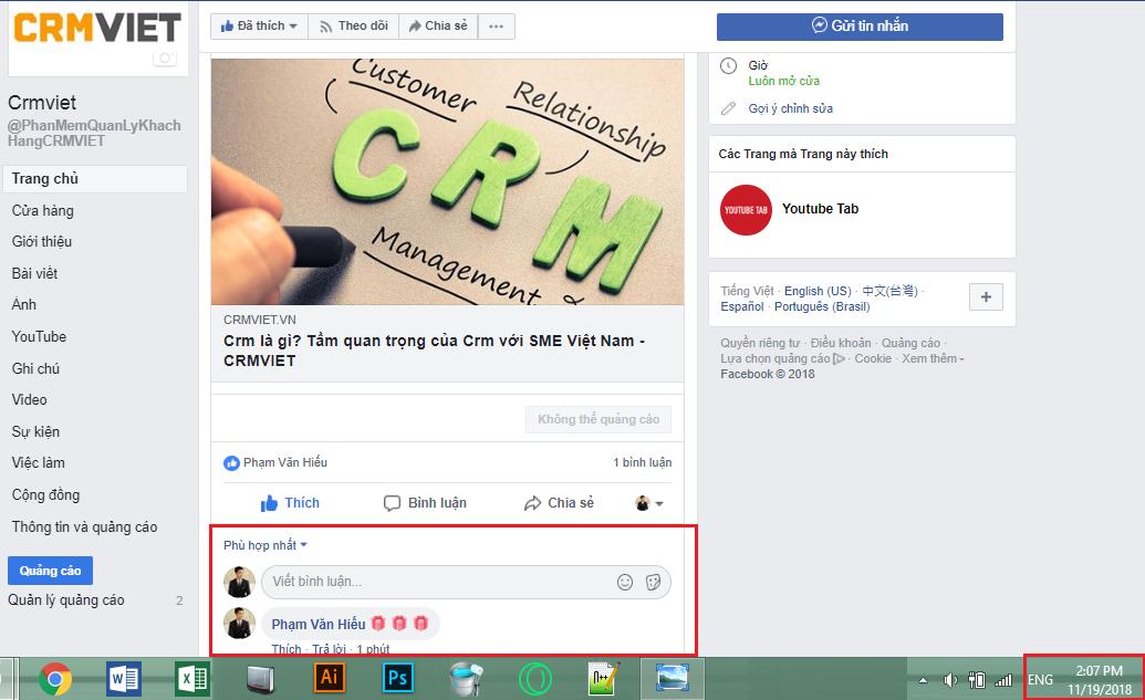 Tích hợp Facebook trên Crmviet - Comment trên Facebook