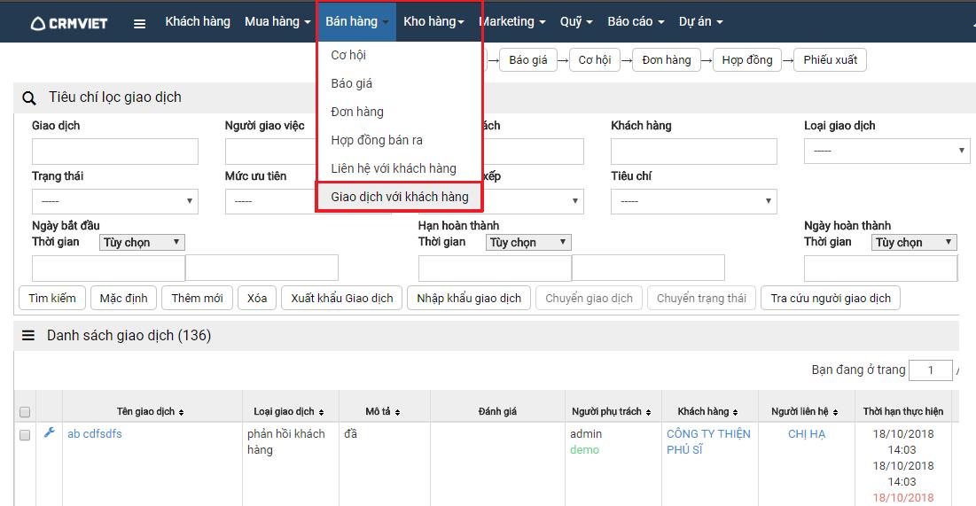 tính năng nhật ký công việc giao dịch với khách hàng