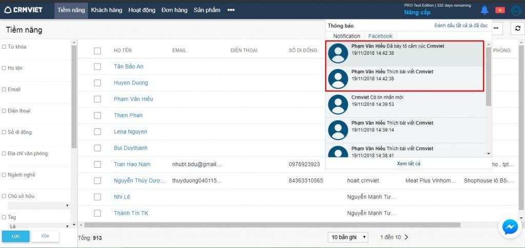 Thông báo khách hàng tương tác với Fanpage
