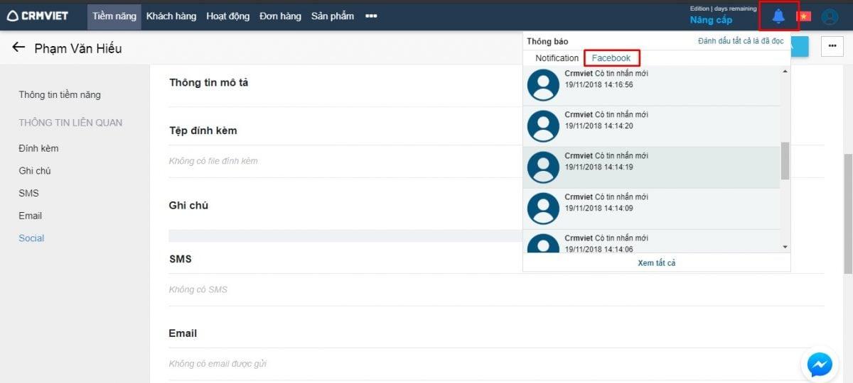 Thống kê thông báo tương tác khách hàng trên Facebook bằng CrmViet