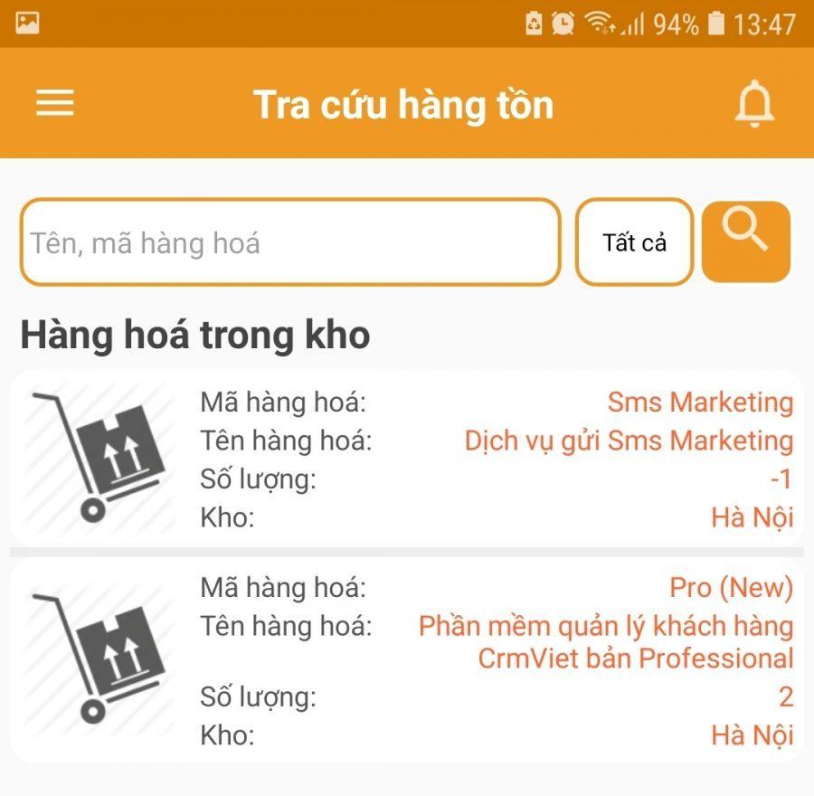 Tra cứu hàng tồn kho trên app crmviet