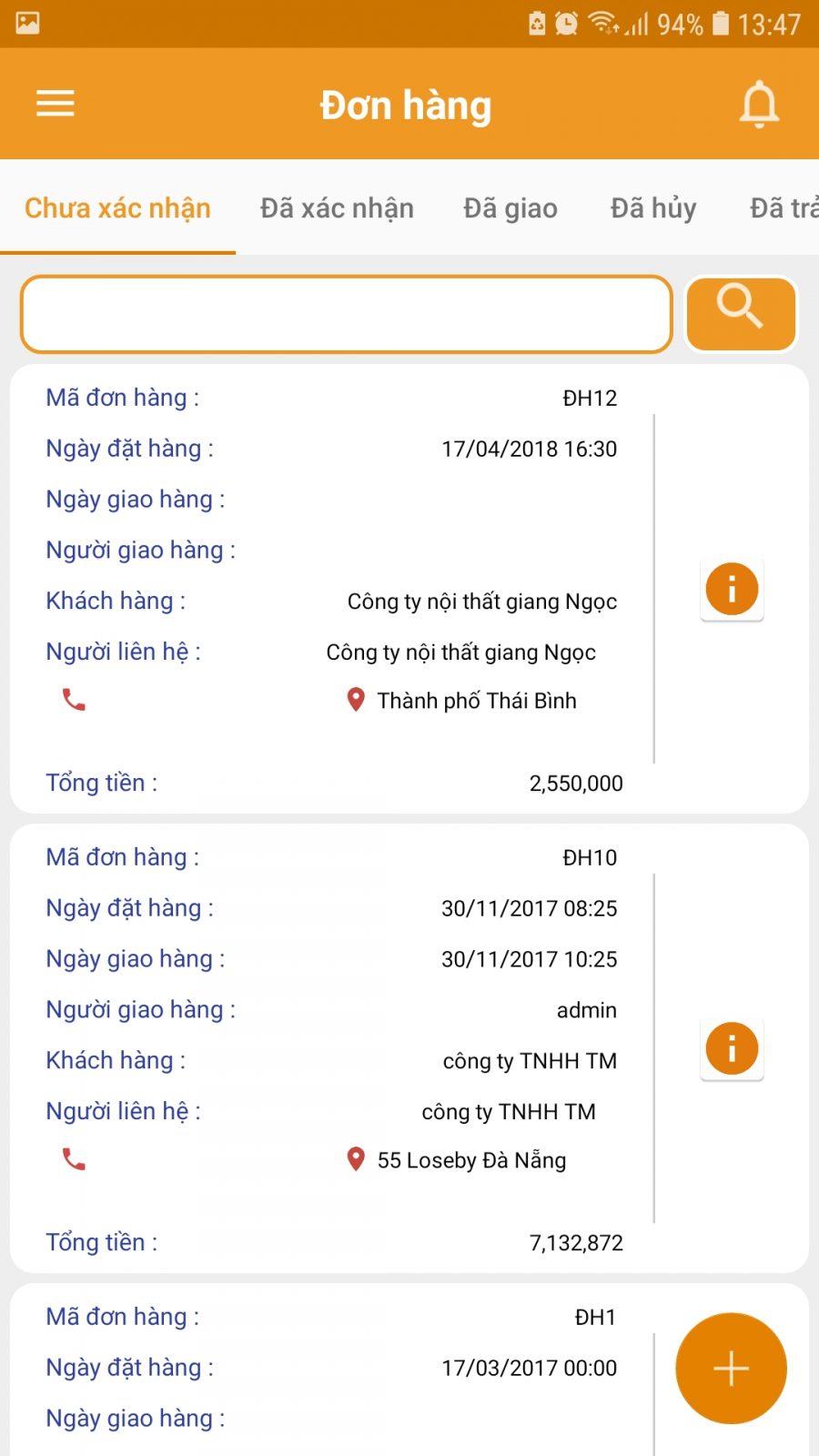 Tính năng đơn hàng trên app CrmViet