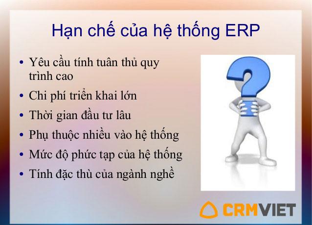 Hạn chế của hệ thống phần mềm quản trị doanh nghiệp ERP