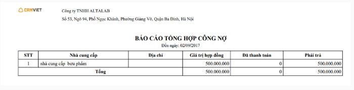Tổng hợp công nợ theo nhà cung cấp