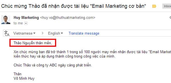 Cá nhân hóa email marketing