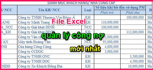 File excel quản lý công nợ miễn phí