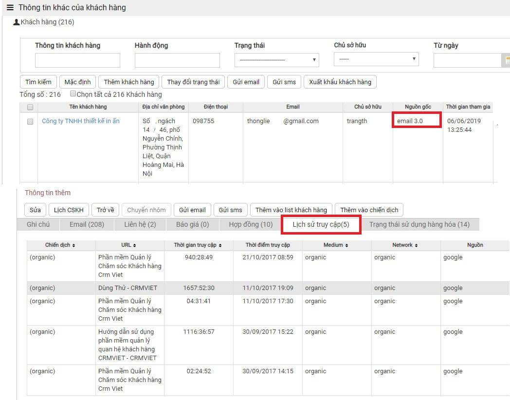 CrmViet - Thống kê lịch sử truy cập của khách hàng_