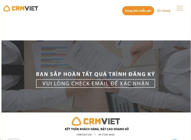 CrmViet - Trang thank you page - Cám ơn và xác nhận đăng ký thành công_