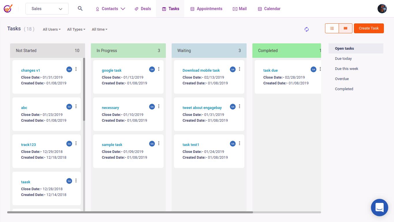 Phần mềm quản lý khách hàng Phần mềm Engage Bay