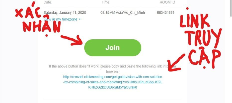 Xác nhận tham gia sự kiện và link dùng để truy cập vào sự kiện
