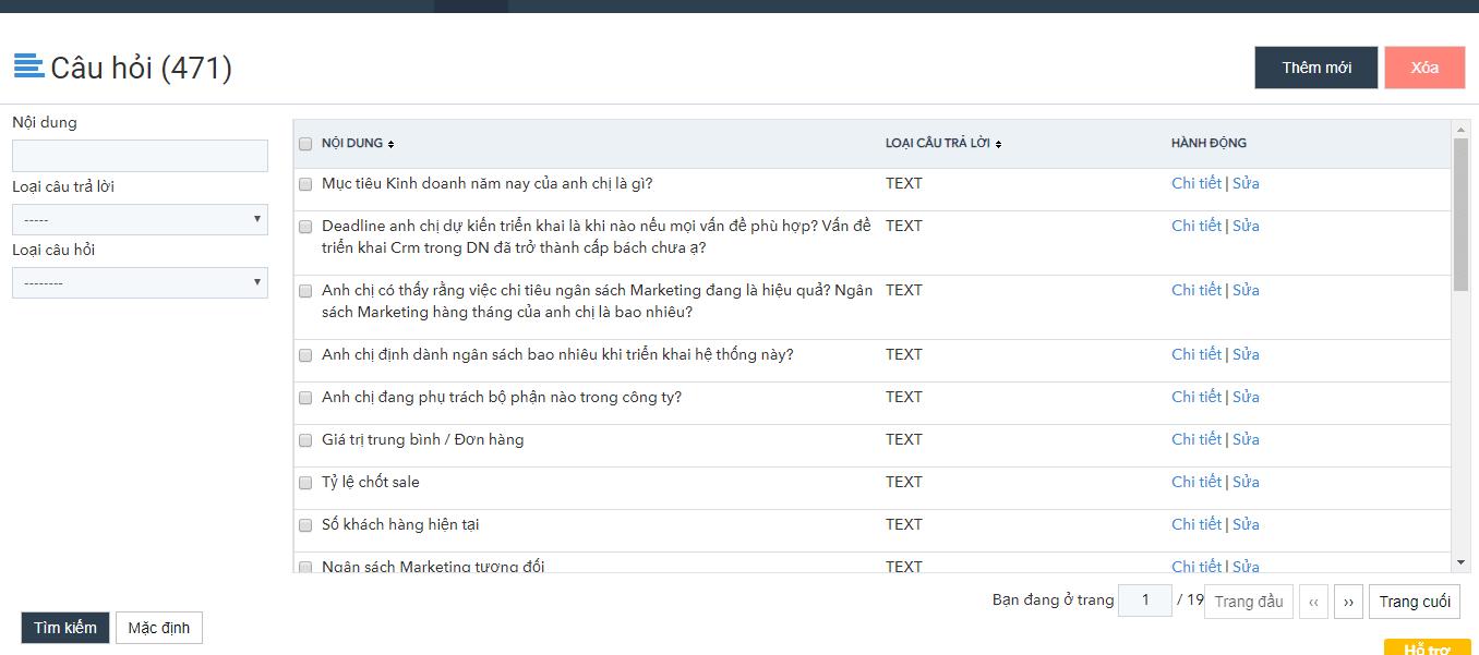 Tạo các mẫu câu hỏi trong tính năng Survey